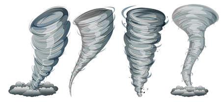 Set of twister on white background illustration