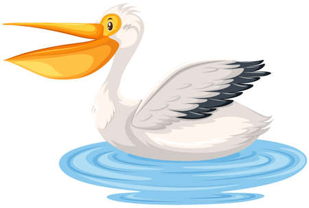 A pelican character in water illustration