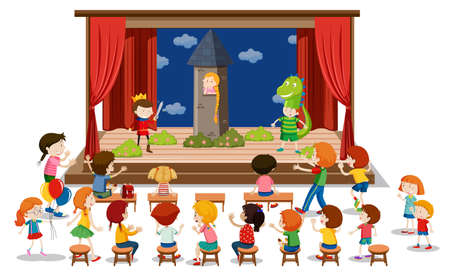 Children play drama on stage illustration