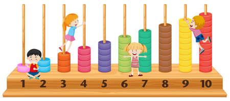 Enfants sur l'illustration colorée de boulier Vecteurs