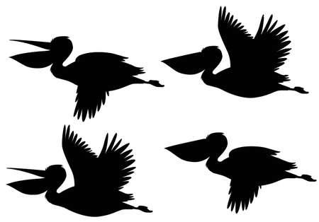A set of silhouette pelican illustration Banco de Imagens - 127129221