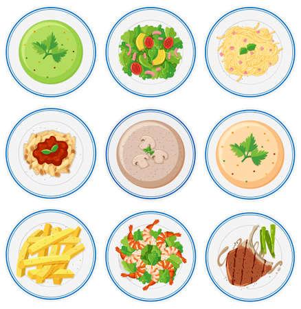 Set of food on dished illustration Illustration