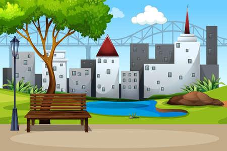 An urban nature park illustration