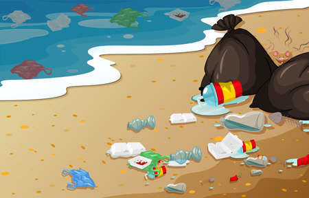 A pollution beach background illustration