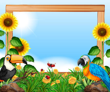 Birds on nature wooden frame illustration Stock Illustratie