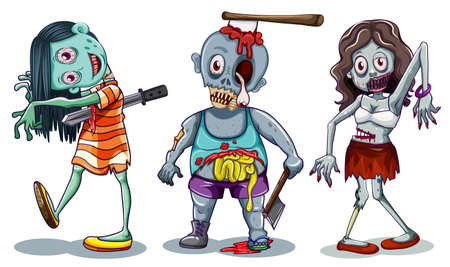 Set of zombie character illustration