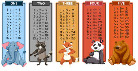 Set of animal times table illustration Vettoriali