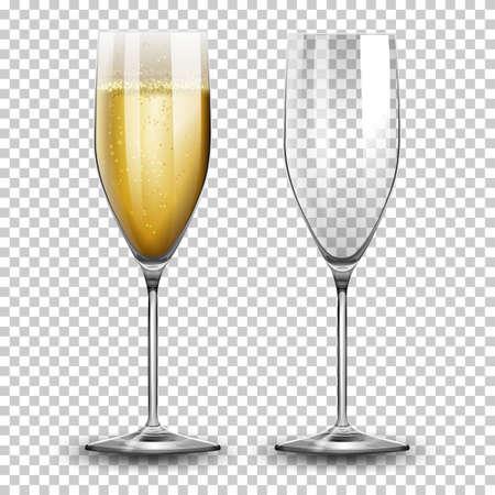 Zestaw ilustracji kieliszków do szampana Ilustracje wektorowe