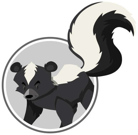 A skunk sticker template illustration