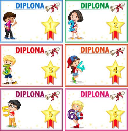 Ensemble d'illustration de modèle de certificat de diplôme Vecteurs
