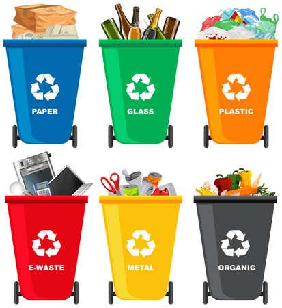 Set mit verschiedenen Mülleimer-Illustrationen