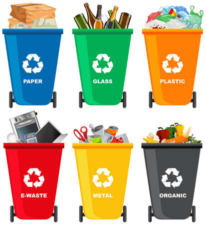 Set of different trash bin illustration