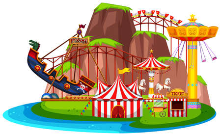 Isolated fun park landscape illustration