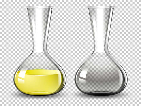 Volumetric flask on transparent background illustration