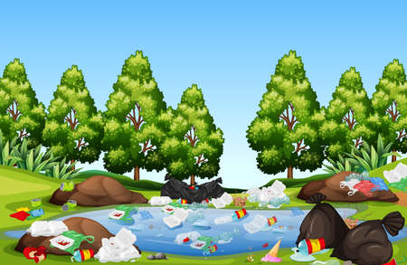 Litter in the nature landscape illustration Ilustração
