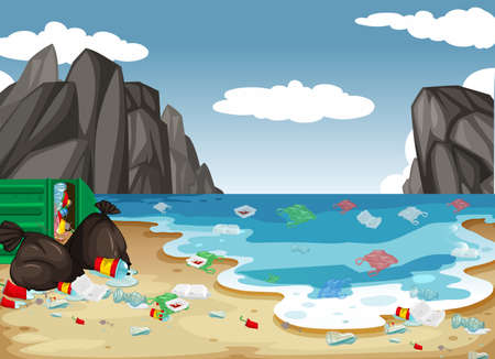 A dirty beach pollution background illustration