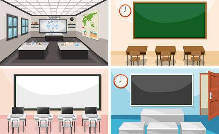 Set of modern classroom illustration
