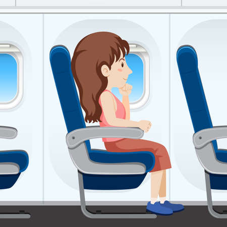 Girl on airplane seat illustration 矢量图像