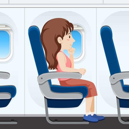 Girl on airplane seat illustration Illustration