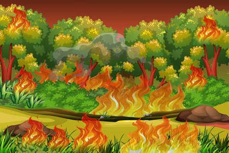 Illustration de fond de feu de forêt dangereux