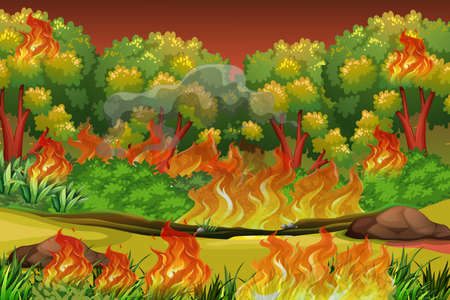 Dangerous forest fire background illustration