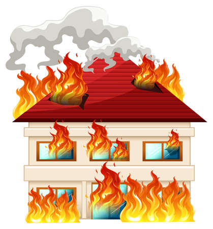 Isolated house on fire illustration Иллюстрация