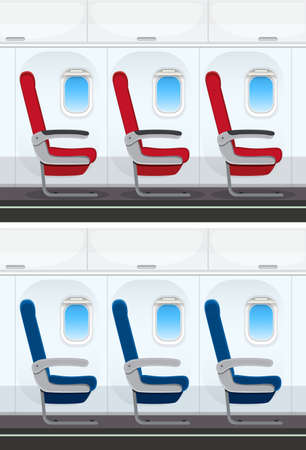 Set of airplane seat layout illustration