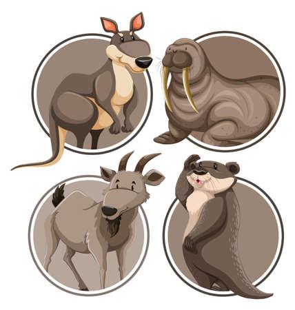 Set di animali selvatici sull'illustrazione del modello di adesivo
