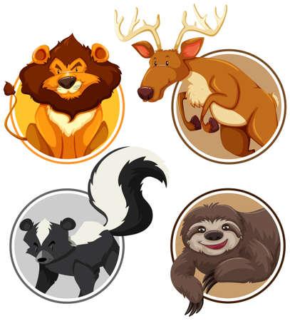 Set of wild animals on circle template illustration