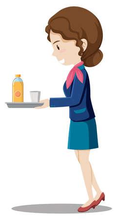A flight attendant character illustration