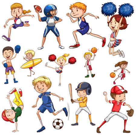 Conjunto de ilustración de personaje de atleta