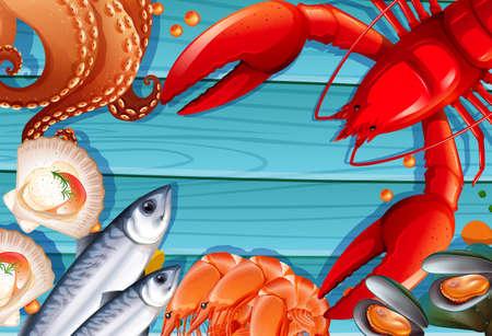 Set of seafood on wooden background illustration