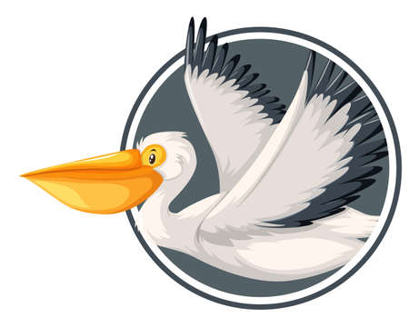 Pelikan latający w ilustracji szablonu koła