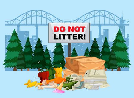 DO not litter banner with city background illustration