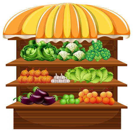 Vegetable on wooden shelf illustration Reklamní fotografie - 126062397