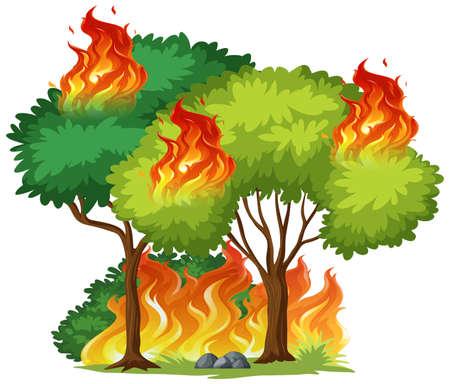 Ilustración de árbol aislado en el fuego Ilustración de vector