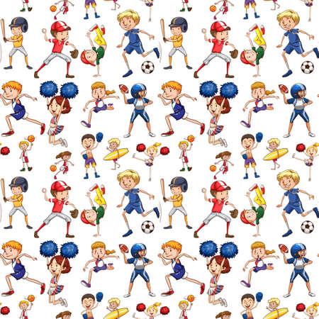 A seamless pattern of athlete illustration