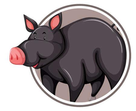 Black pig on circle template illustration Ilustración de vector