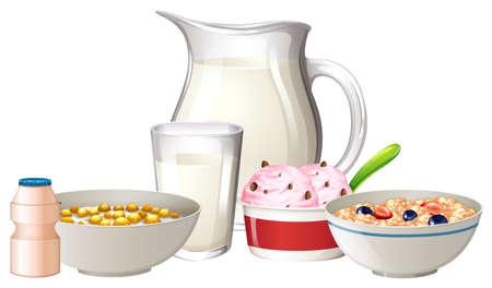 Breakfast set on white background illustration