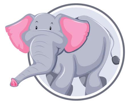 Elefante en la ilustración de la bandera del círculo