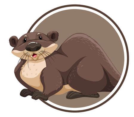 Otter in circle banner illustration