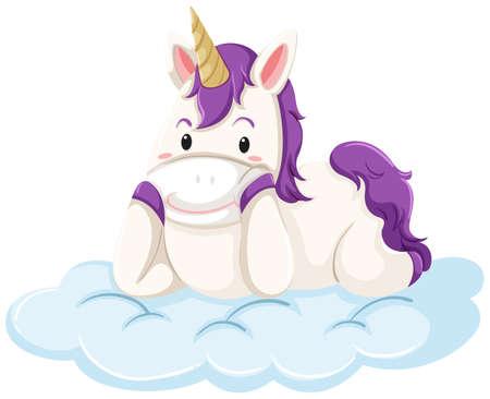 A unicorn lay down on cloud illustration