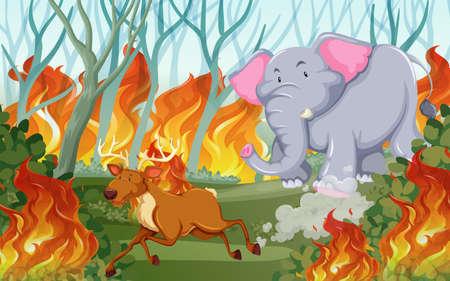 Animals run away from wildfire illustration Stock Vector - 126023915