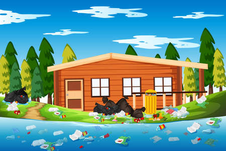 Litter in the log house illustration Ilustração