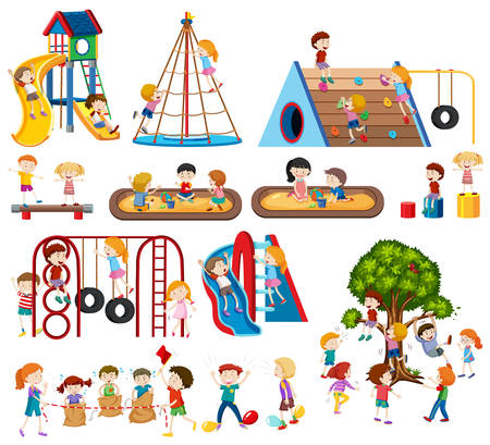 Set of children at playground illustration