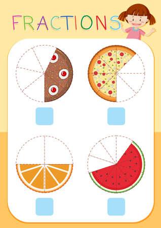 Conjunto de ilustración de fracciones de pastel