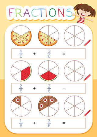 A math fraction worksheet illustration Illusztráció