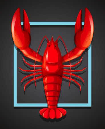 A red lobster on black template illustration Illustration