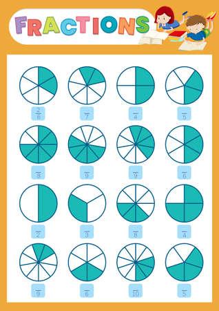 A math fraction worksheet illustration Ilustración de vector