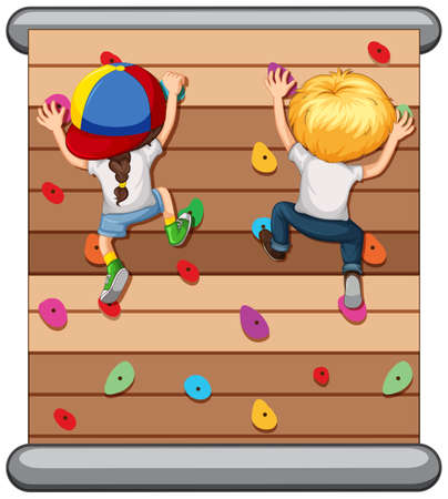Children climbing the wall  illustration